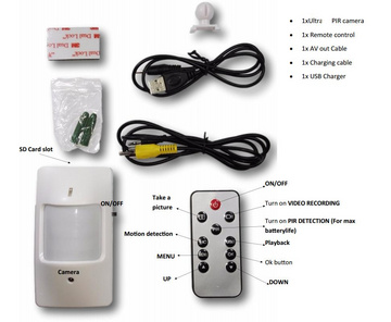 Hidden camera in PIR sensor with 30 day standby