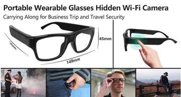 Secret Camera in EyeGlasses HD WiFi with 150min recording time and replaceable battery
