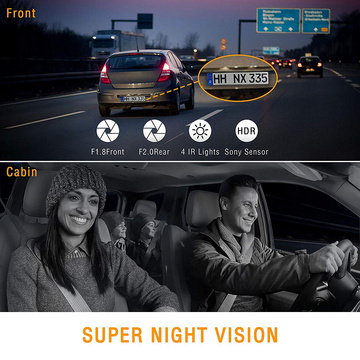 Uber Dual Dash Cam Infrared Night Vision FHD Car Driving Recorder