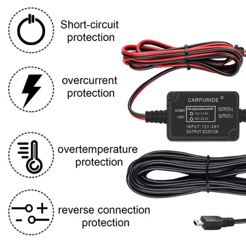 Dash Cam Hardwire Kit Mini USB Car Charger Cable Set 12 V to 5 V Hard Wire and Fuse Kit for Dash Camera